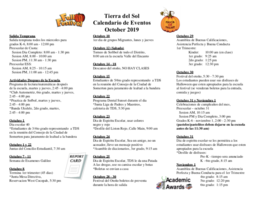 October 2019 Calendar of Events - Spanish