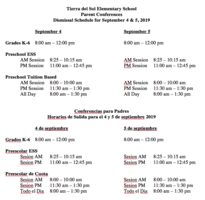 Parent Conferences Dismissal Schedule