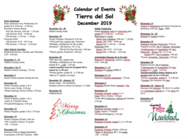 December 2019 Calendar of Events