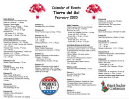 February 2020 Calendar of Events