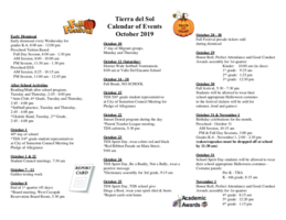 October 2019 Calendar of Events - English